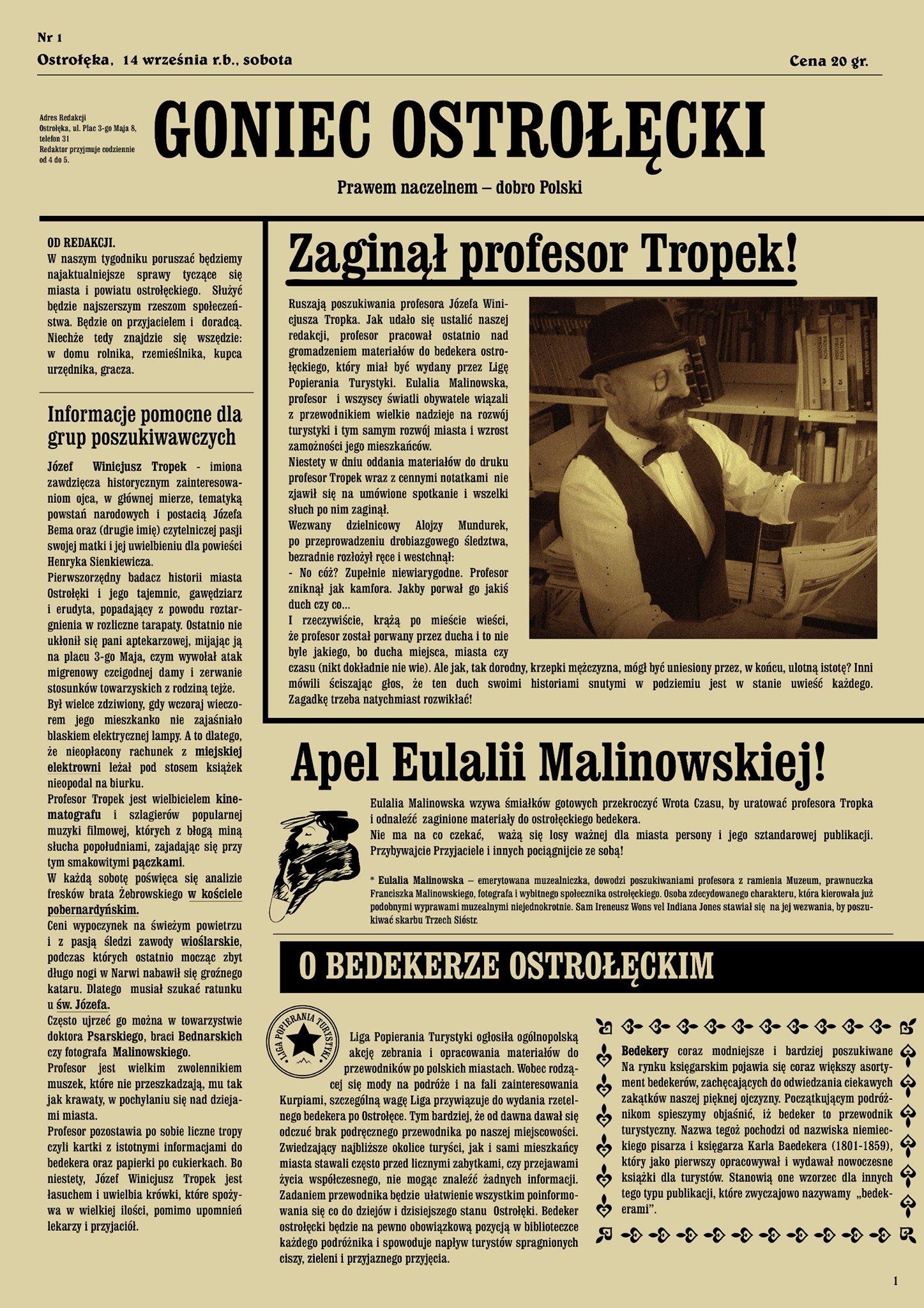 """Zadanie z gry miejskiej """"Ostrołęcki bedeker czyli Wrota Czasu"""""""