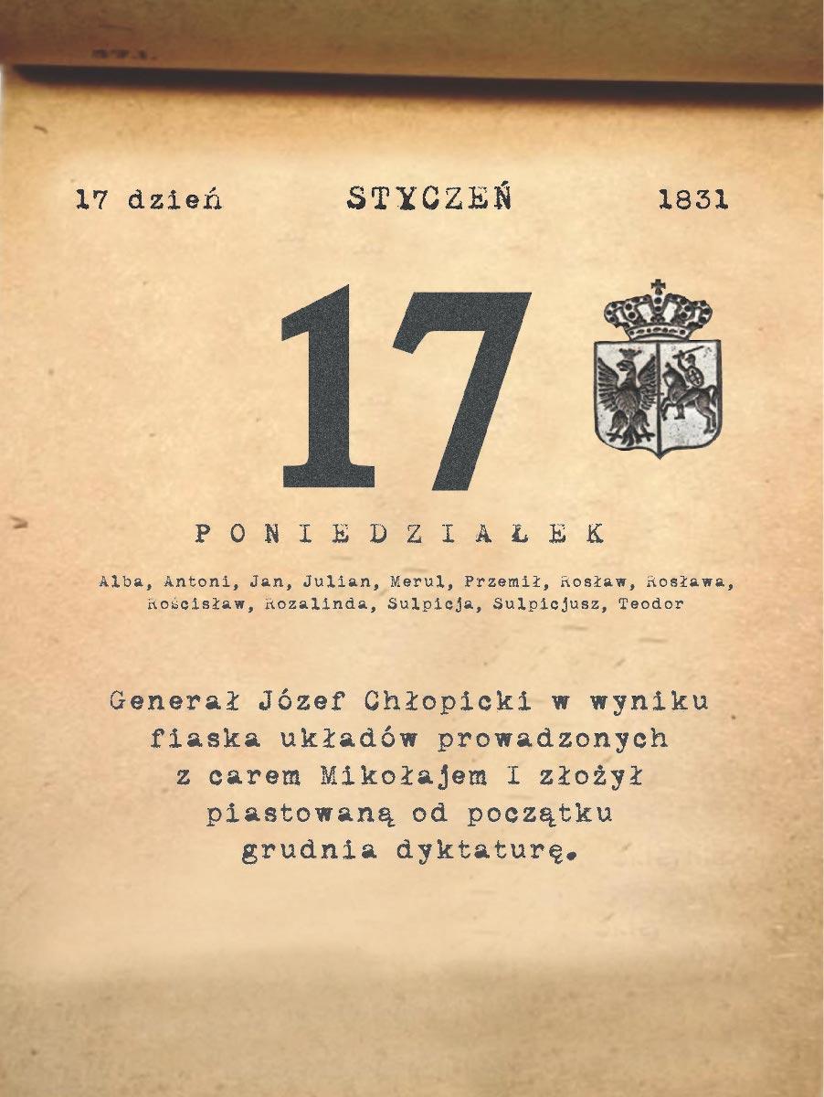 Kalendarz powstania listopadowego. 17.01.1831 r.