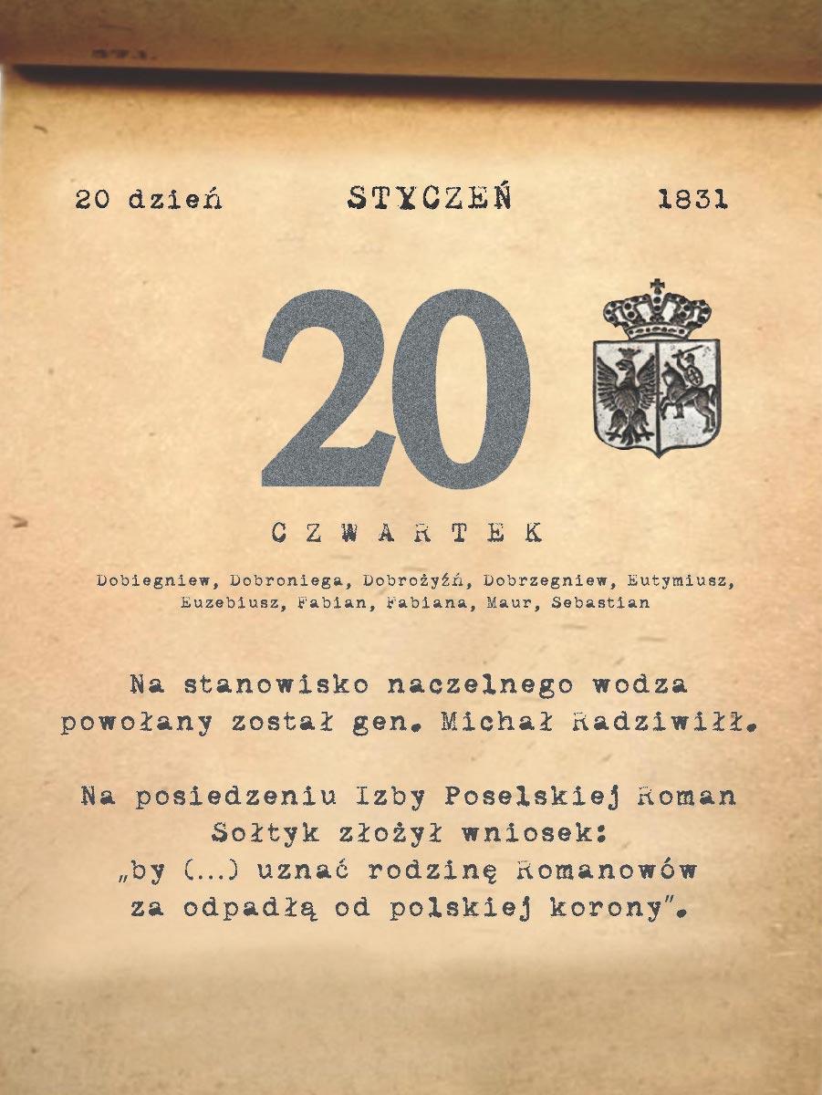 Kalendarz powstania listopadowego. 20.01.1831 r.