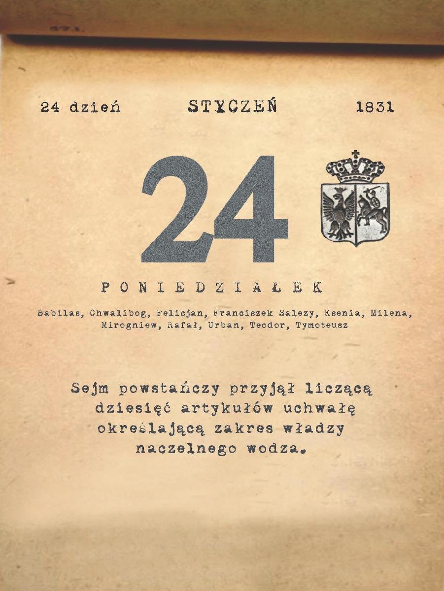 Kalendarz powstania listopadowego. 24.01.1831 r.