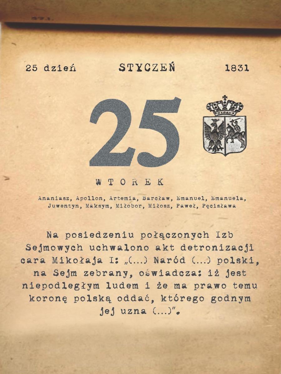 Kalendarz powstania listopadowego. 25.01.1831 r.