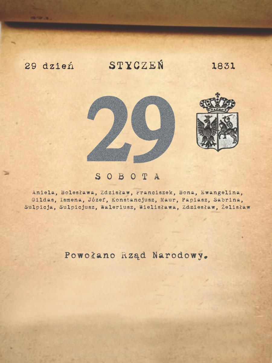 Kalendarz powstania listopadowego. 29.01.1831 r.