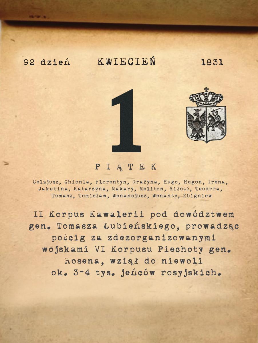 Kalendarz powstania listopadowego. 01.04.1831 r.
