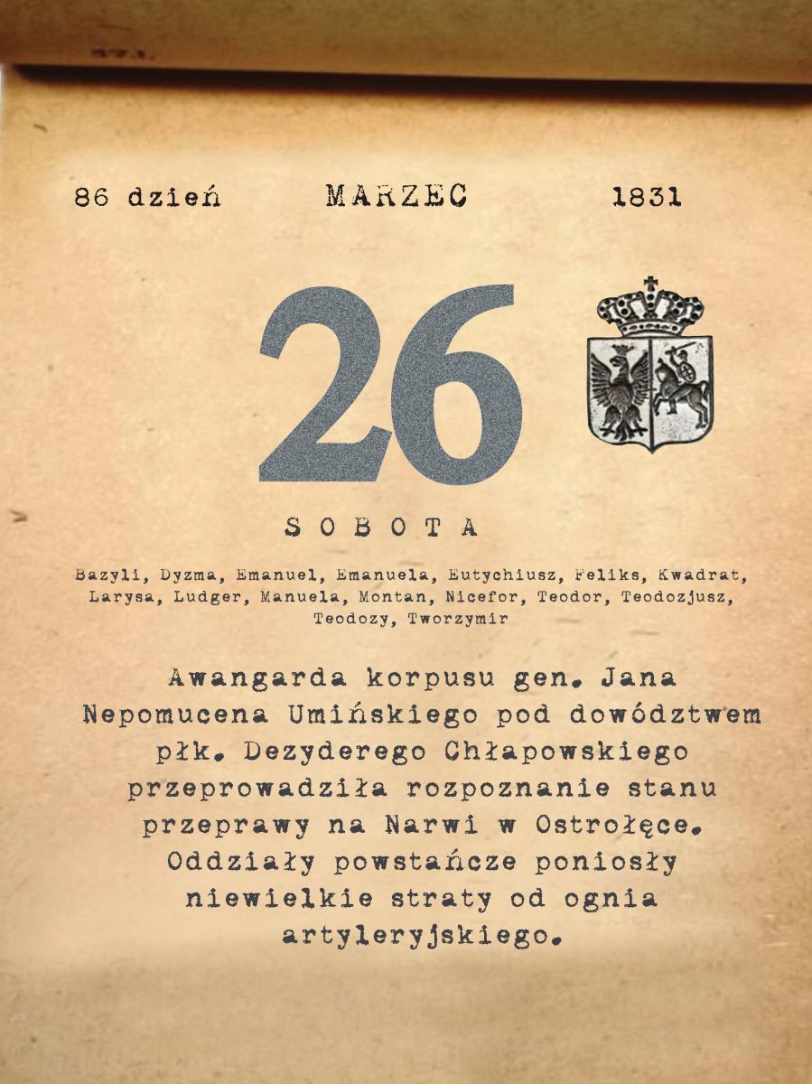 Kalendarz powstania listopadowego. 26.03.1831 r.