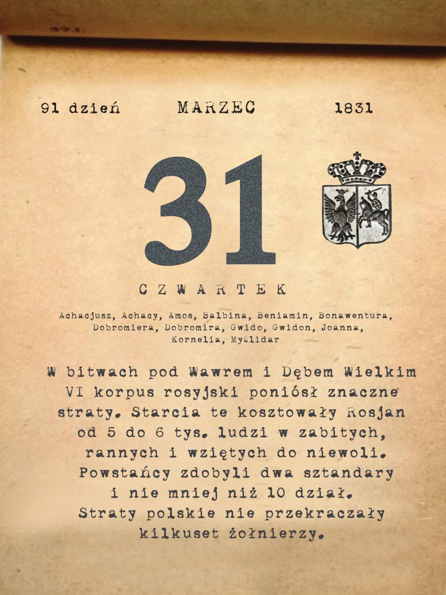 Kalendarz powstania listopadowego. 31.03.1831 r.
