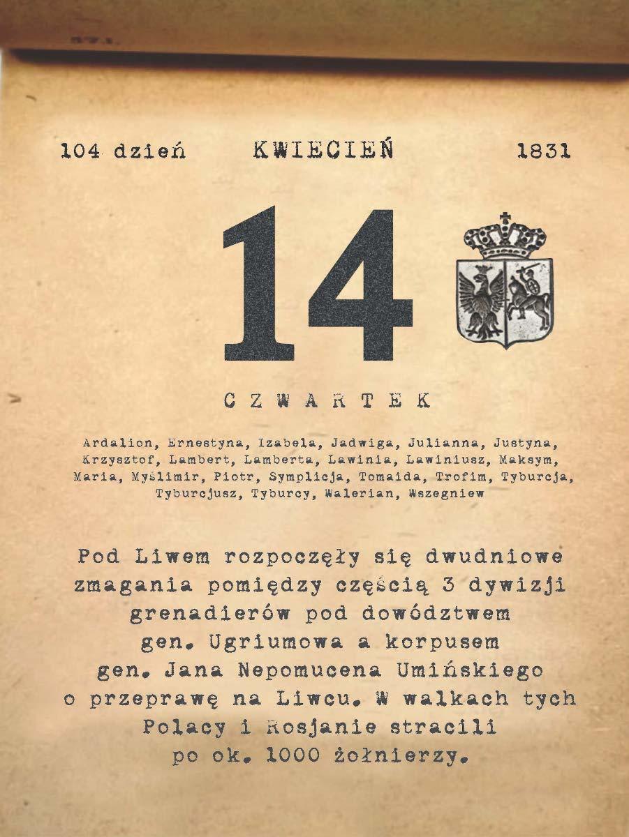 Kalendarz powstania listopadowego. 14.04.1831 r.