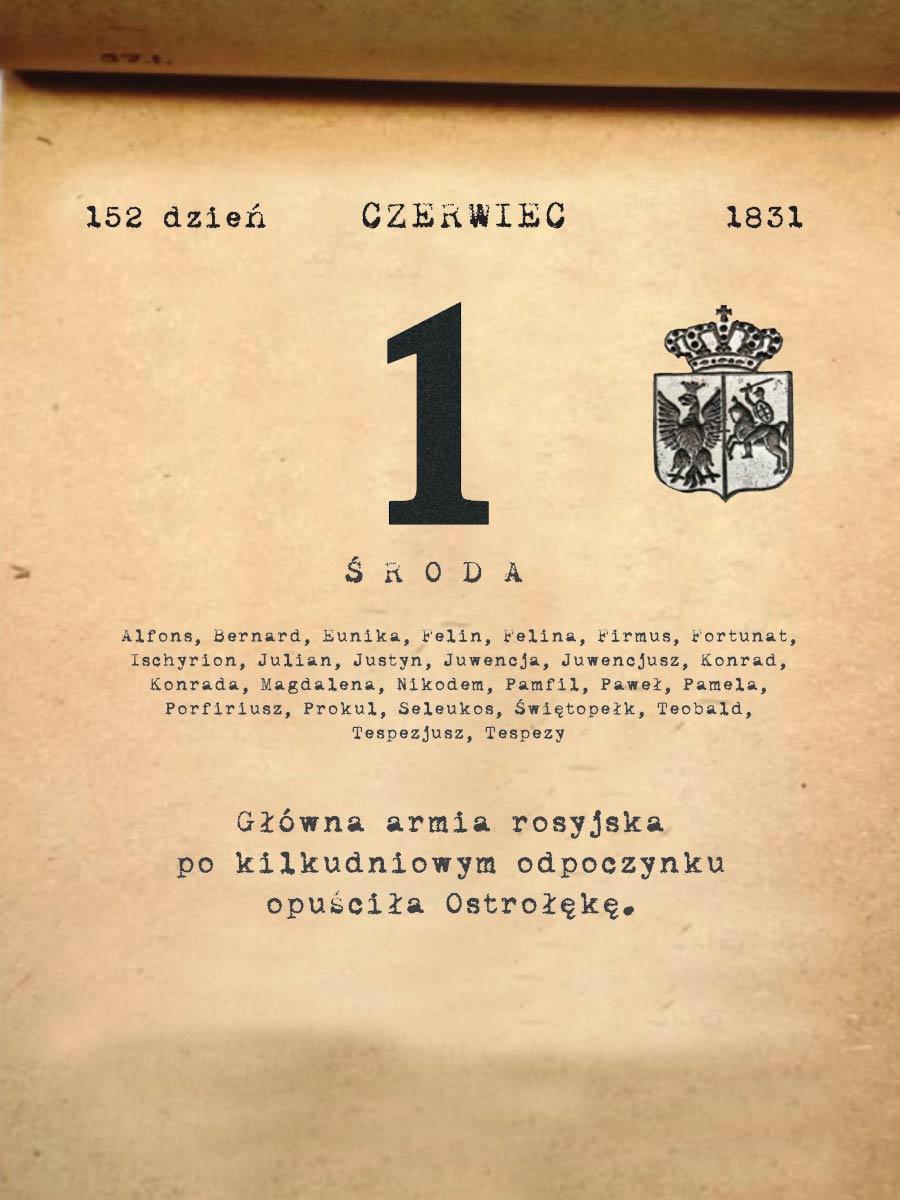 Kalendarz powstania listopadowego. 1.06.1831 r.