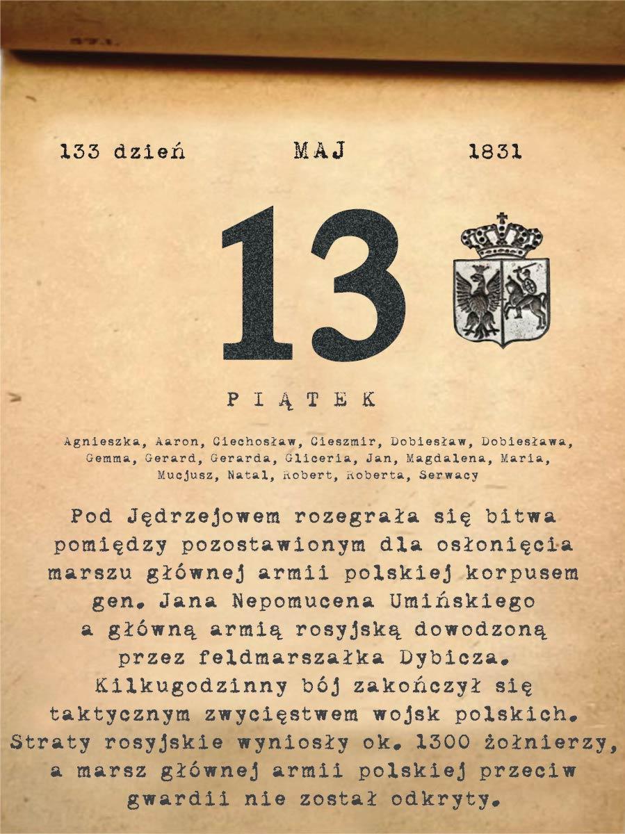 Kalendarz powstania listopadowego. 13.05.1831 r.