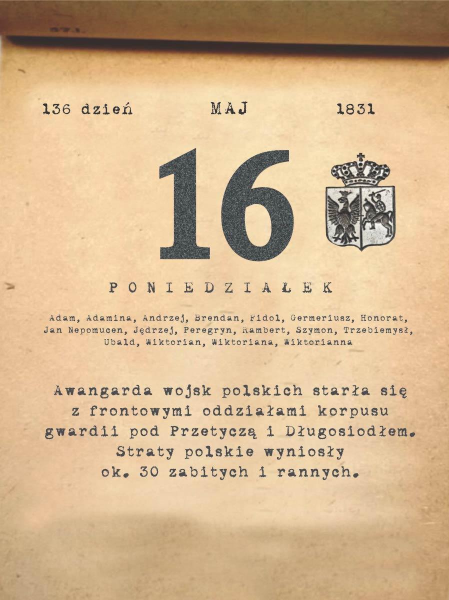 Kalendarz powstania listopadowego. 16.05.1831 r.