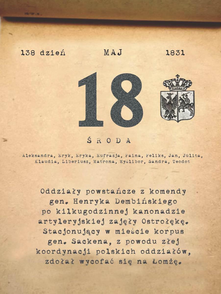 Kalendarz powstania listopadowego. 18.05.1831 r.