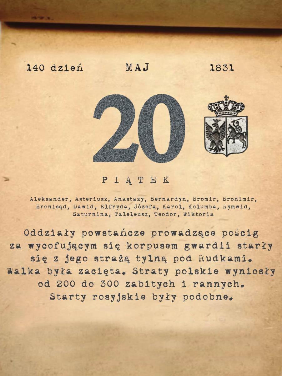 Kalendarz powstania listopadowego. 20.05.1831 r.