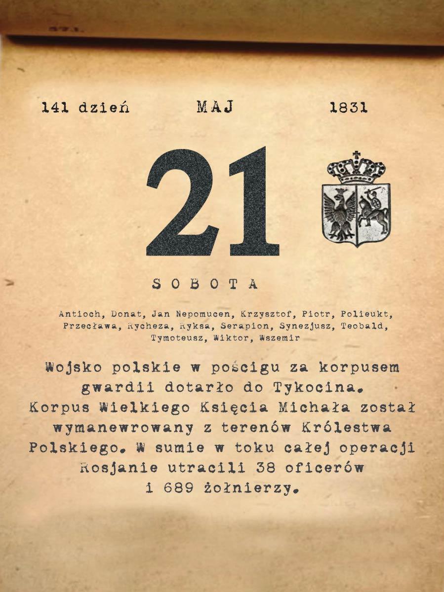Kalendarz powstania listopadowego. 21.05.1831 r.