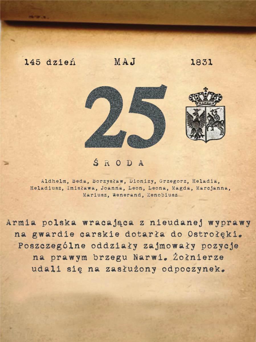 Kalendarz powstania listopadowego. 25.05.1831 r.