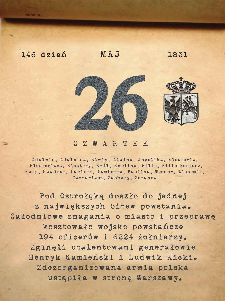 Kalendarz powstania listopadowego. 26.05.1831 r.