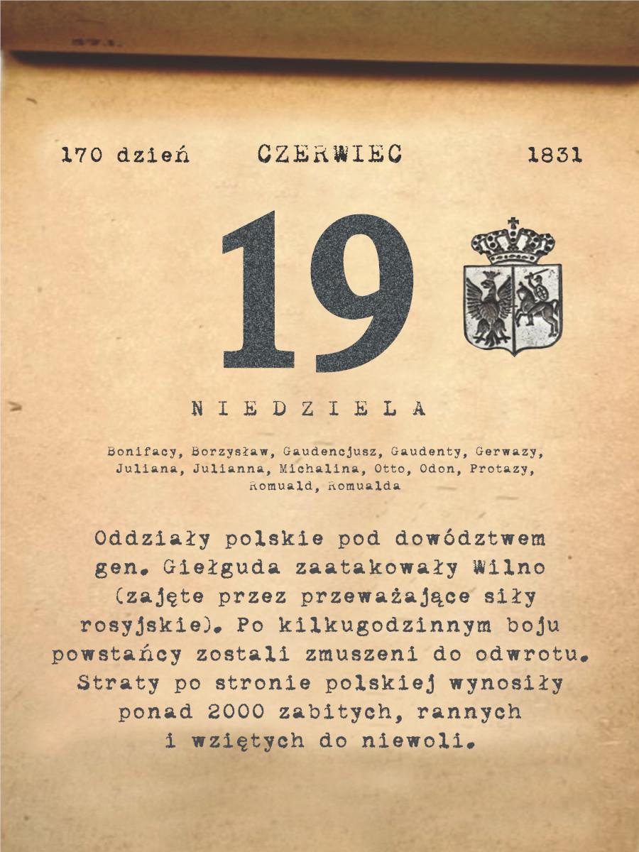Kalendarz powstania listopadowego. 19.06.1831 r.