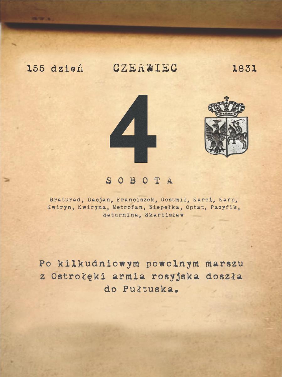 Kalendarz powstania listopadowego. 4.06.1831 r.