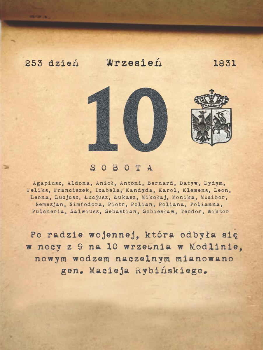 Kalendarz powstania listopadowego. 10.09.1831 r.