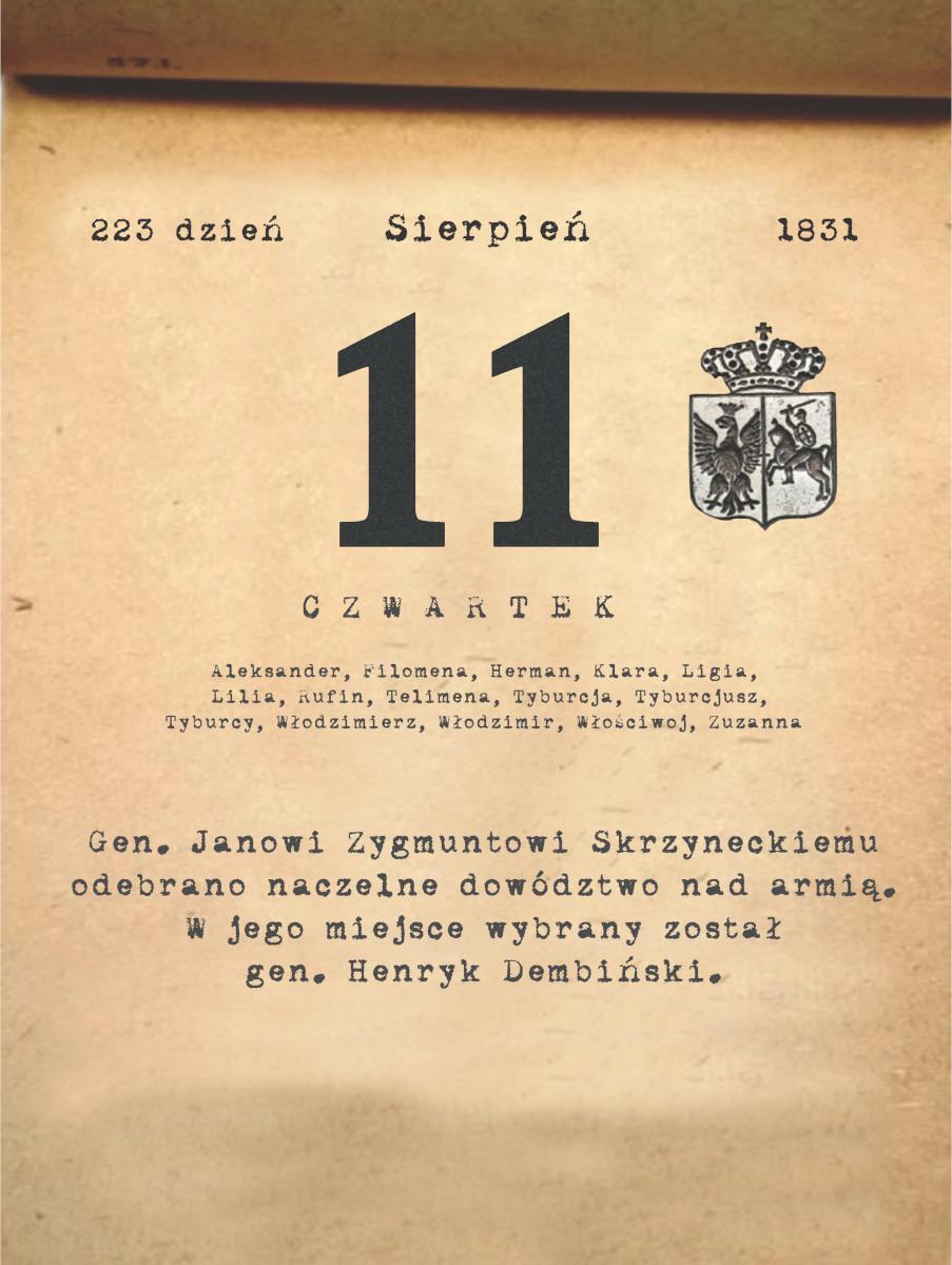 Kalendarz powstania listopadowego. 11.08.1831 r.