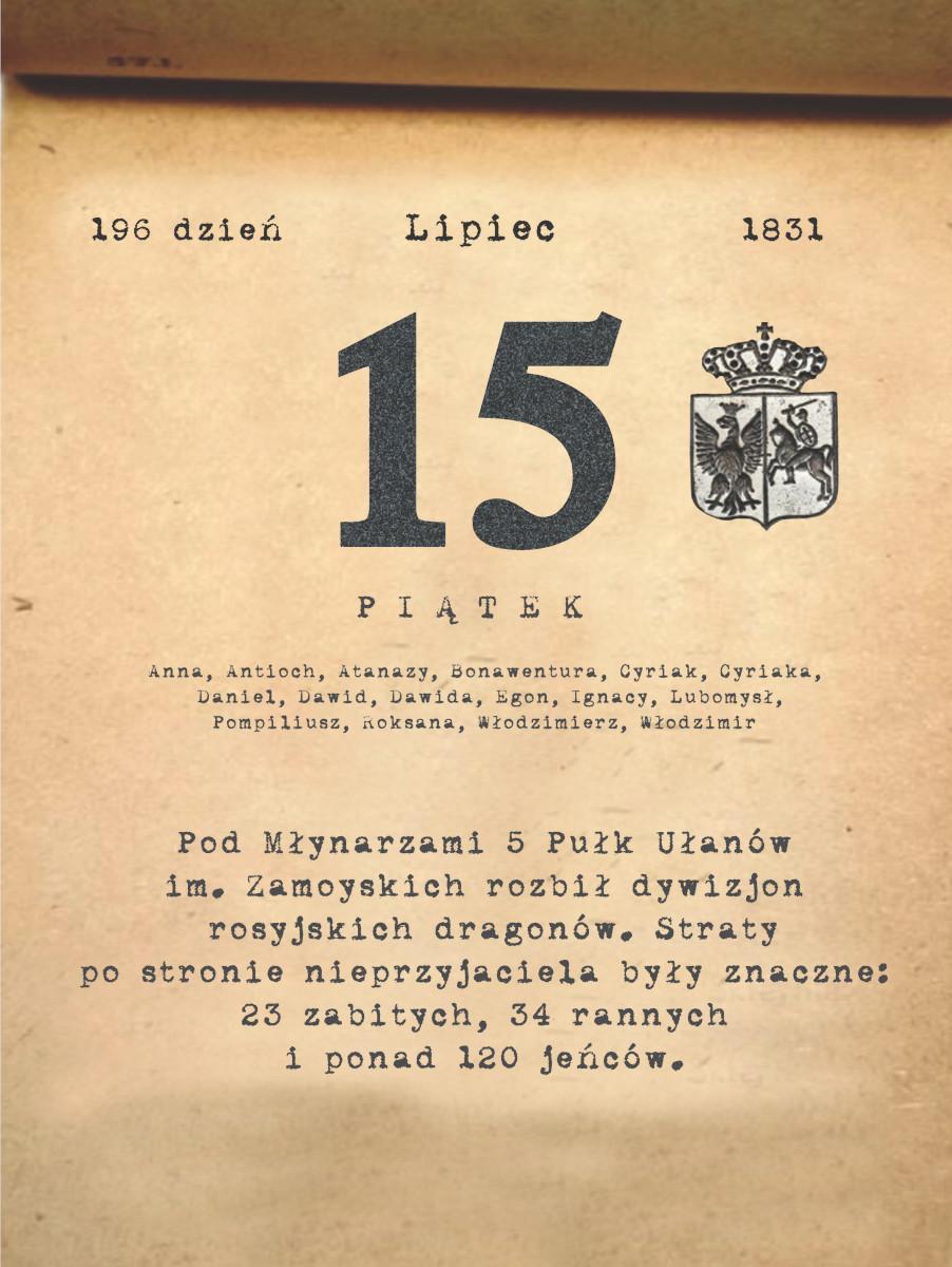 Kalendarz powstania listopadowego. 15.07.1831 r.