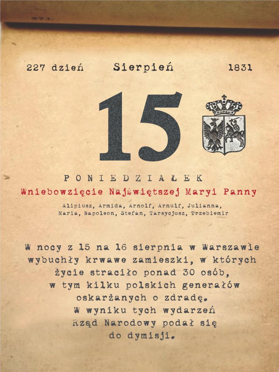 Kalendarz powstania listopadowego. 15.08.1831 r.
