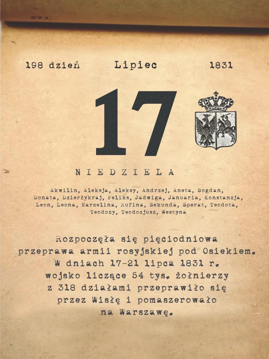 Kalendarz powstania listopadowego. 17.07.1831 r.