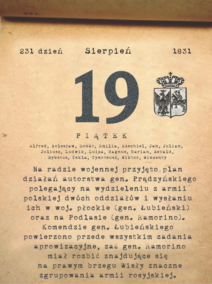Kalendarz powstania listopadowego. 19.08.1831 r.
