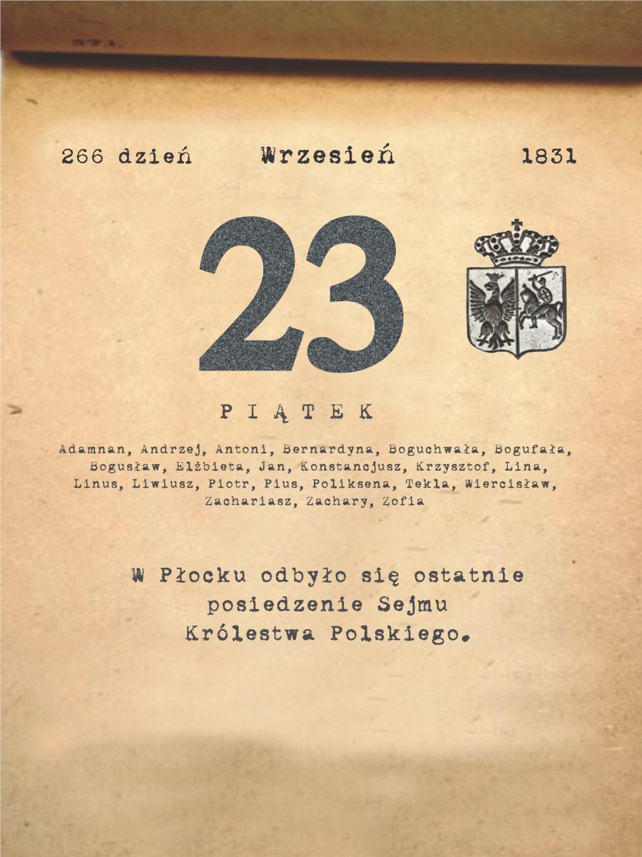 Kalendarz powstania listopadowego. 23.09.1831 r.