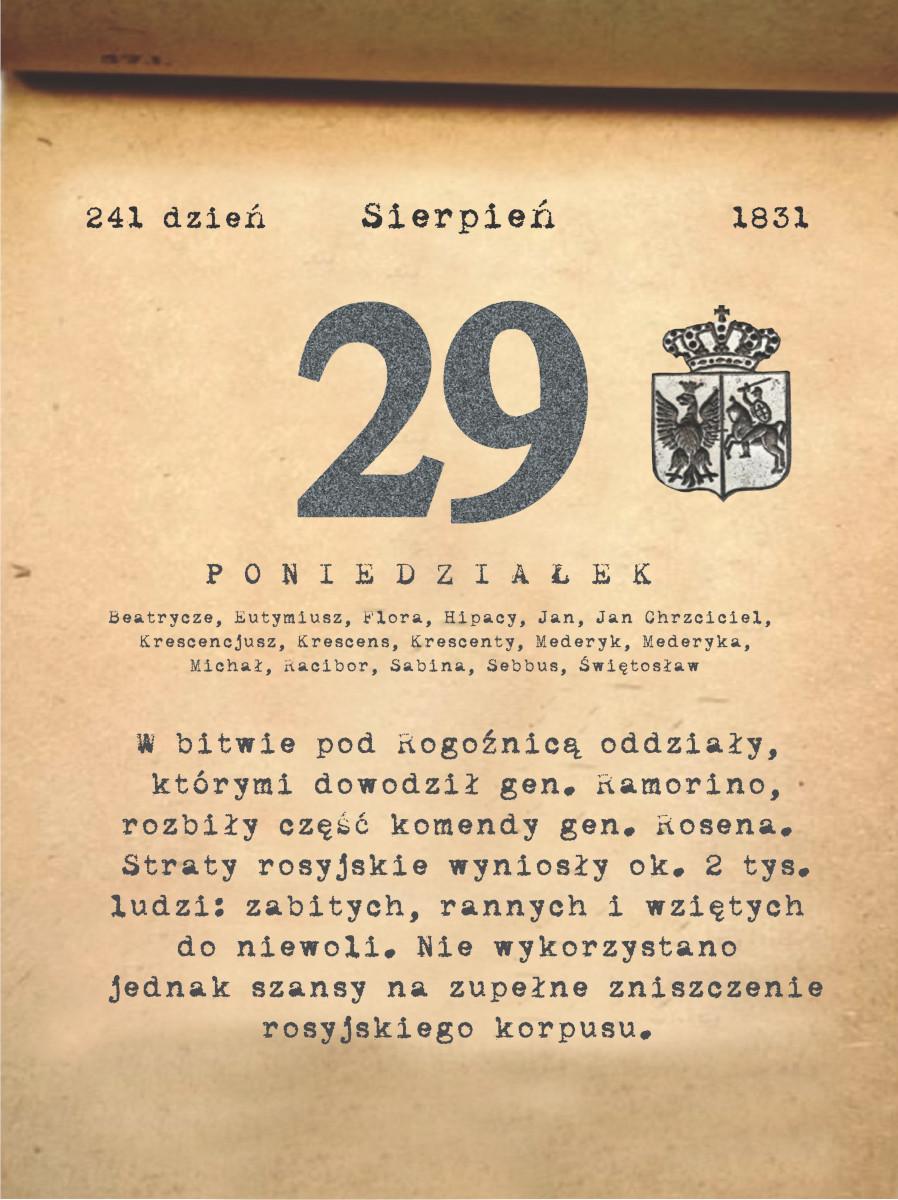 Kalendarz powstania listopadowego. 29.08.1831 r.