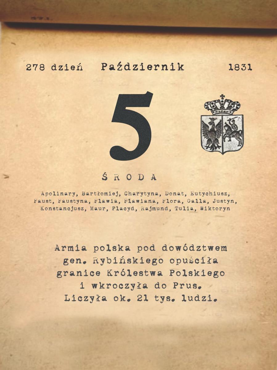 Kalendarz powstania listopadowego. 5.10.1831 r.