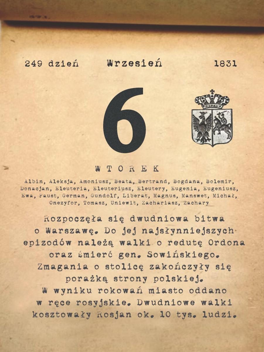 Kalendarz powstania listopadowego. 6.09.1831 r.