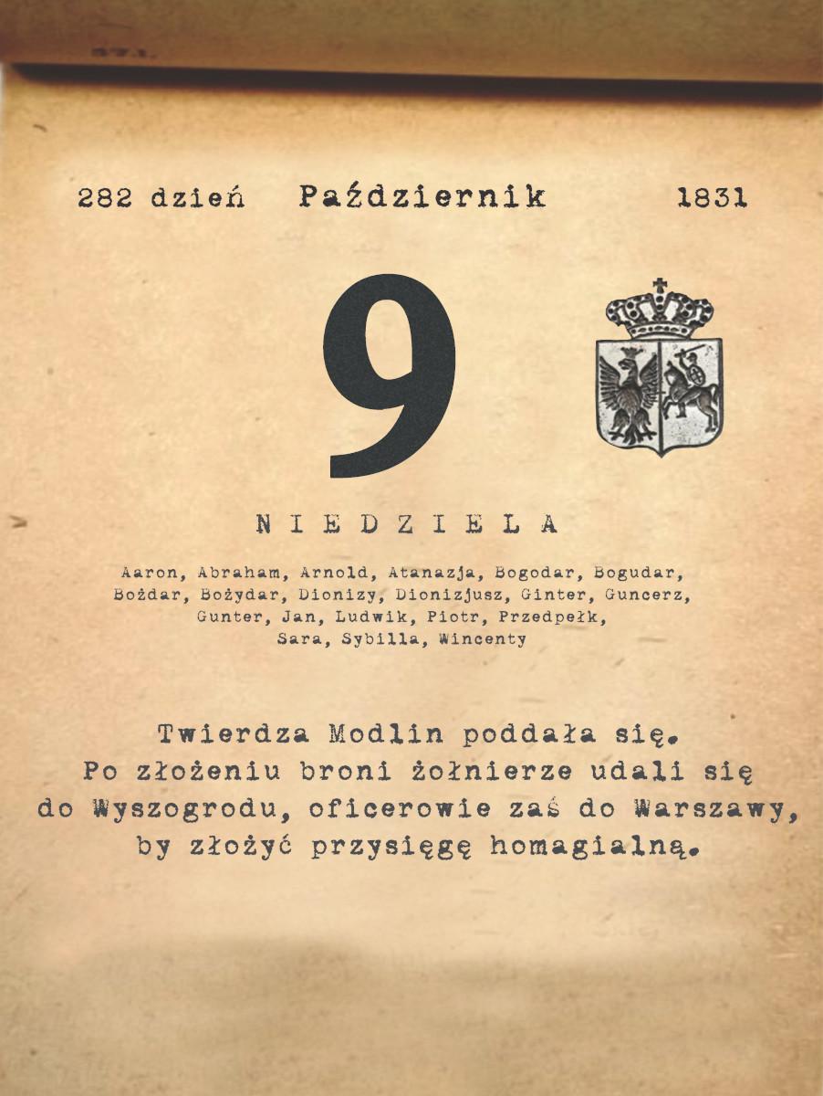 Kalendarz powstania listopadowego. 9.10.1831 r.